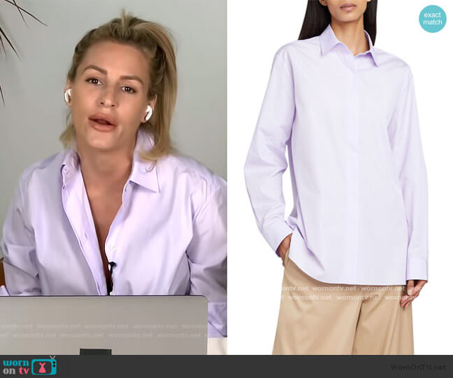 Big Sisea Button-Front Long-Sleeve Cotton Oxford Shirt by The Row worn by Morgan Stewart  on E! News