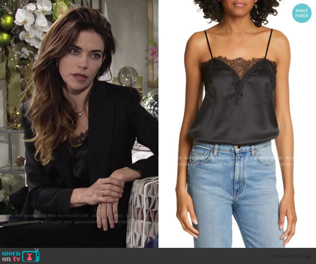 The Sweetheart Silk Charmeuse Camisole by Cami NYC worn by Victoria Newman (Amelia Heinle) on The Young & the Restless