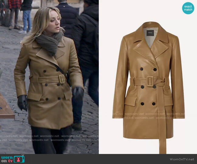 Theory Belted double-breasted leather coat  worn by Cassie Bowden (Kaley Cuoco) on The Flight Attendant