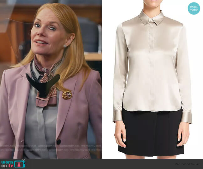 Classic Fitted Shirt by Theory worn by Lisa Benner (Marg Helgenberger) on All Rise