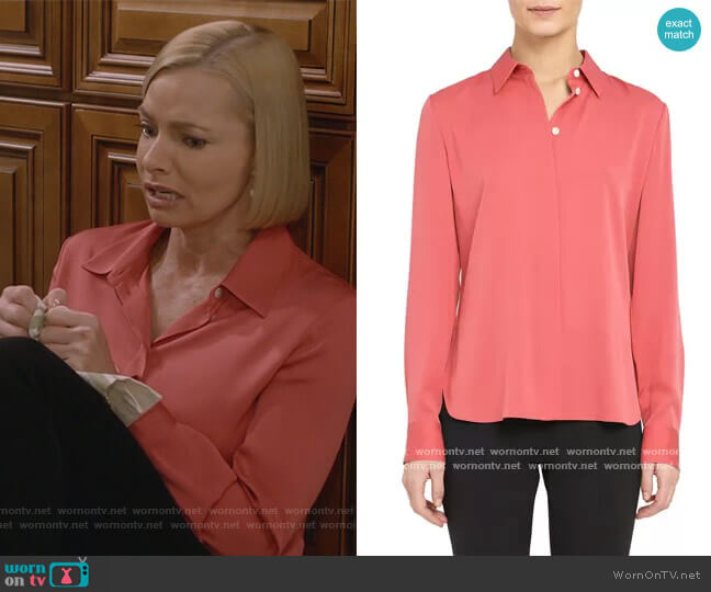 Stretch Silk Classic Fitted Shirt by Theory worn by Jill Kendall (Jaime Pressly) on Mom