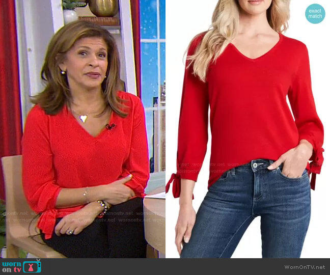 Tie Sleeve Cotton Blend Sweater by Cece worn by Hoda Kotb  on Today