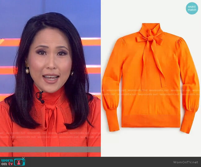 Tie-neck turtleneck sweater by J. Crew worn by Vicky Nguyen  on Today