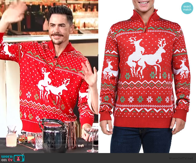 Funny Humping Reindeer Sweater by Tipsy Elves worn by Tom Sandoval on E! News Daily Pop