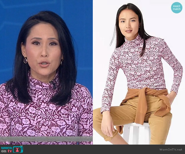 Tissue Turtleneck in Vintage Floral by J. Crew worn by Vicky Nguyen  on Today