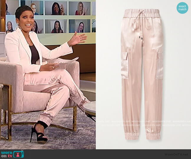 Silk-satin track pants by Tom Ford worn by Tamron Hall  on Tamron Hall Show