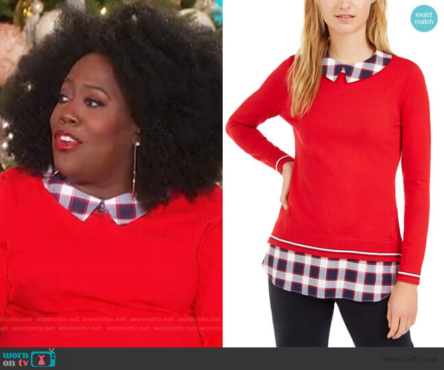Cotton Layered-Look Sweater by Tommy Hilfiger worn by Sheryl Underwood  on The Talk