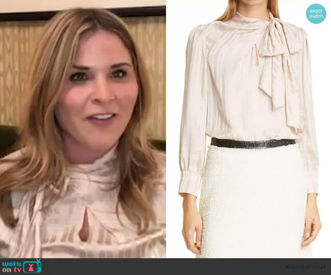 Tonal Stripe Tie Neck Silk Blouse by Rebecca Taylor worn by Jenna Bush Hager  on Today