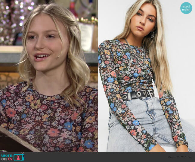 Topshop Mesh Top in Multi Floral worn by Faith Newman (Alyvia Alyn Lind) on The Young & the Restless