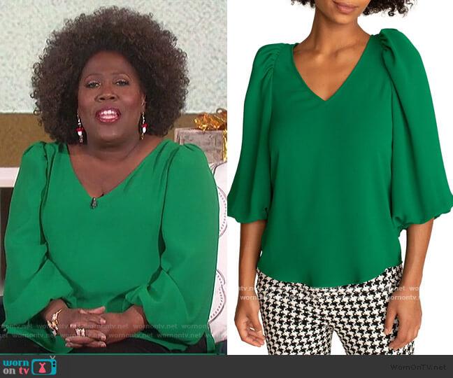 Danise Puff-Sleeve Top by Trina Turk worn by Sheryl Underwood  on The Talk