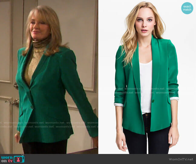 Silk Shawl Collar Blazer by Truth and Pride worn by Marlena Evans (Deidre Hall) on Days of our Lives
