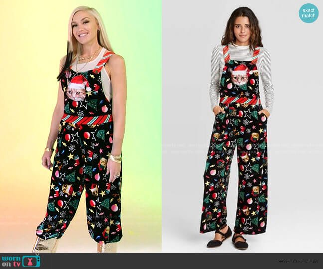 Ugly Holiday Cat Print Sleeveless Jumpsuit by Born Famous at Target worn by Gwen Stefani  on The Voice
