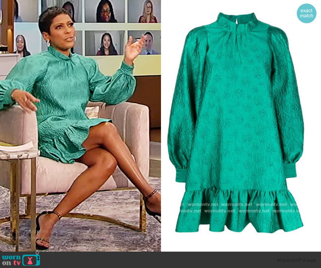 Mock Neck Flared Dress by Ulla Johnson worn by Tamron Hall  on Tamron Hall Show
