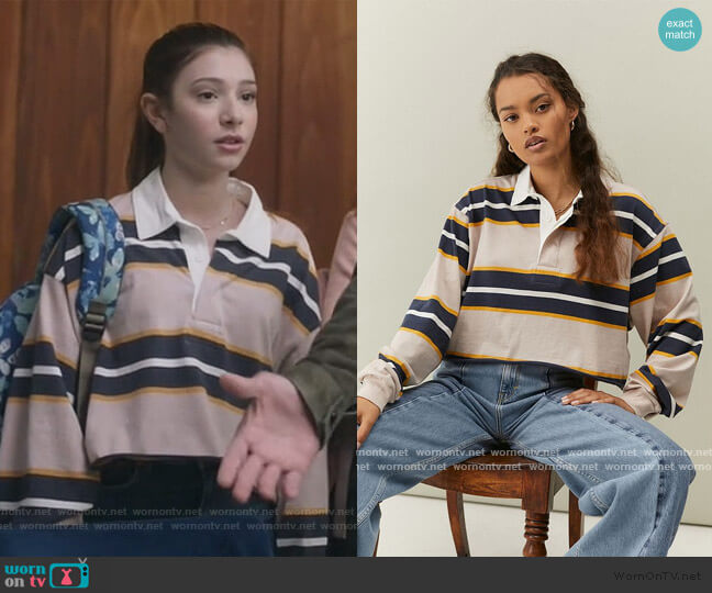 Jefferson Cropped Rubgy Polo Shirt by Urban Outfitters worn by Natalie (Makenzie Moss) on The Unicorn