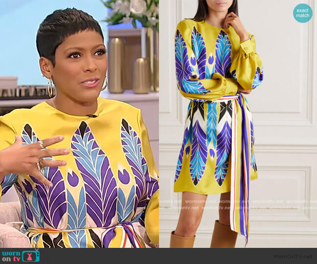 Belted printed silk-twill mini dress by Valentino worn by Tamron Hall  on Tamron Hall Show