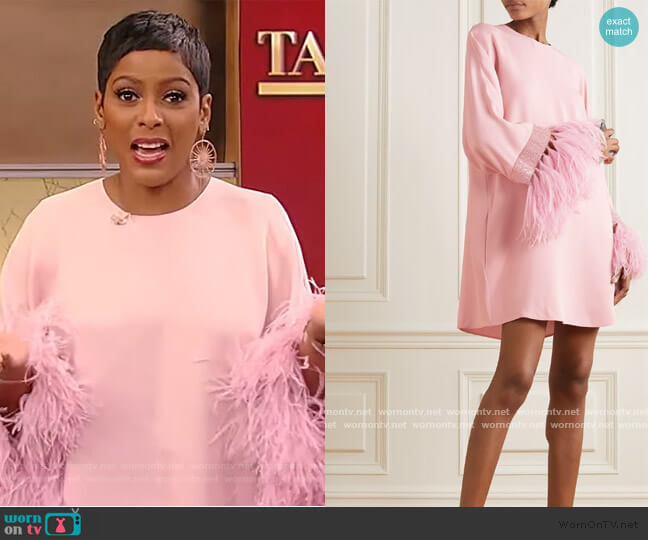 Feather-trimmed embellished crepe mini dress by Valentino worn by Tamron Hall  on Tamron Hall Show