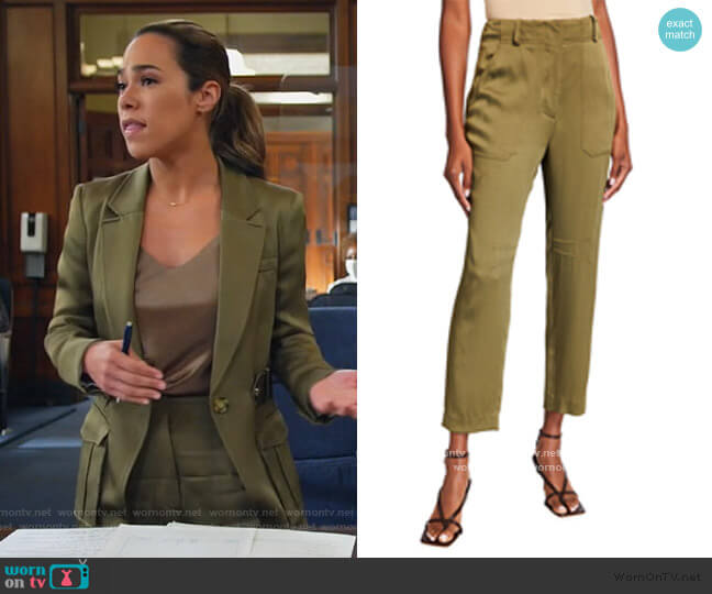 Miranda Twill Pants by Veronica Beard worn by Emily Lopez (Jessica Camacho) on All Rise