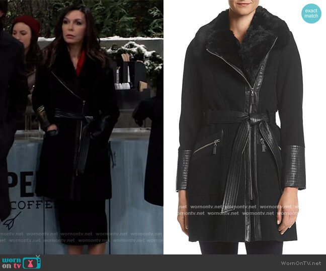 Kate Mid-Length Belted Wool Assymetric Zip Front Coat by Via Spiga worn by Anna Devane (Finola Hughes) on General Hospital