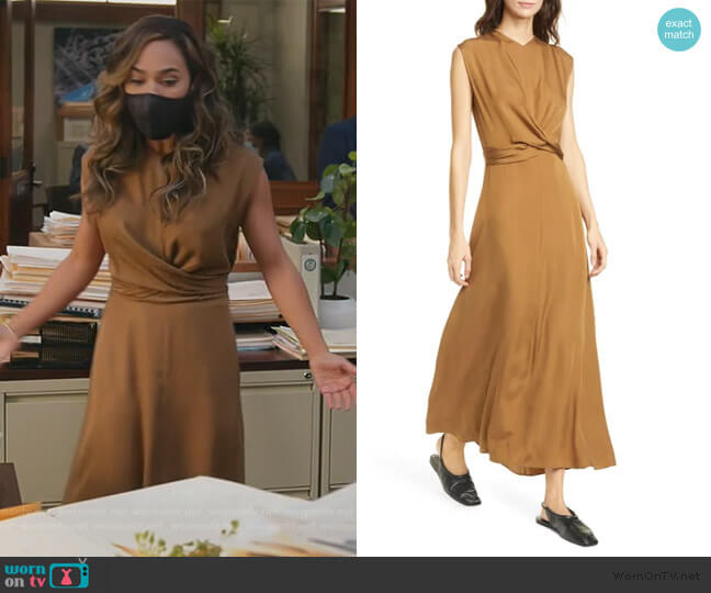 Sleeveless Twist Front Dress by Vince worn by Emily Lopez (Jessica Camacho) on All Rise