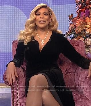 Wendy's black velvet dress on The Wendy Williams Show