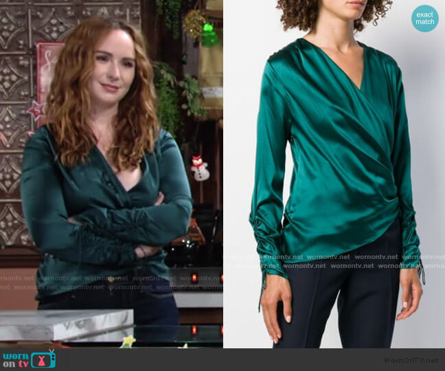Wrap Silk Blouse by Jonathan Simkhai worn by Mariah Copeland (Camryn Grimes) on The Young & the Restless