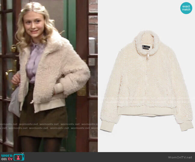 Zara Fleece Bomber worn by Faith Newman (Alyvia Alyn Lind) on The Young & the Restless