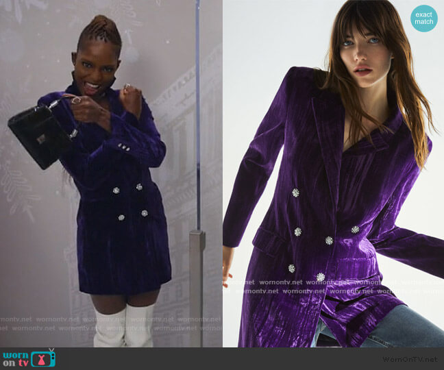 Velvet Blazer Dress by Zara worn by Samantha Marie Ware on All Rise
