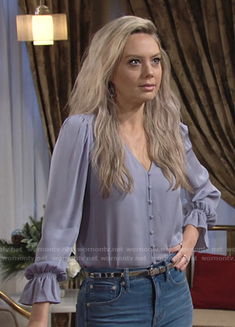 Abby's blue button front v-neck blouse on The Young and the Restless