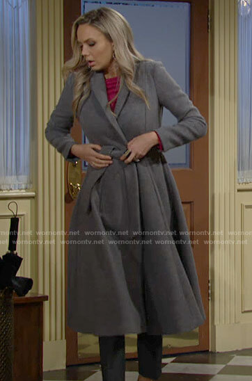 Abby's long grey flared coat on The Young and the Restless