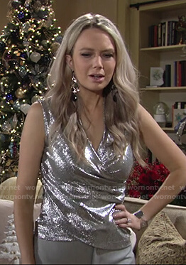 Abby's silver metallic wrap top on The Young and the Restless