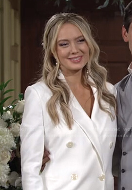 Abby's white double breasted blazer and pants on The Young and the Restless