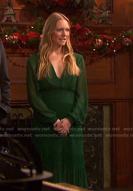 Abigail's green smocked midi dress on Days of our Lives