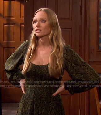 Abigail's green snake print smocked dress on Days of our Lives