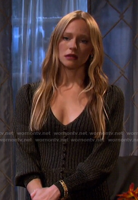 Abigail's metallic ribbed v-neck dress on Days of our Lives