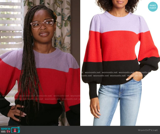 Sammy Balloon Sleeve Colorblock Sweater by A.L.C. worn by Diane Johnson (Marsai Martin) on Blackish