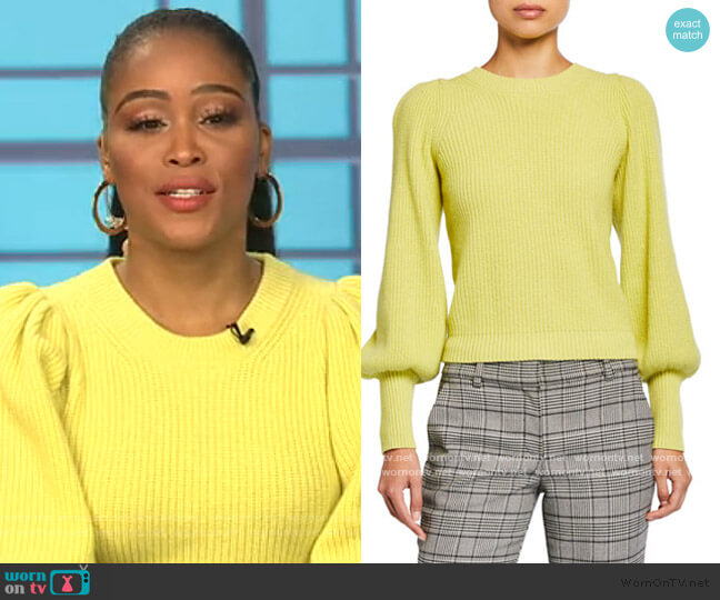 Eliana Crewneck Bishop-Sleeve Sweater by A.L.C. worn by Eve  on The Talk