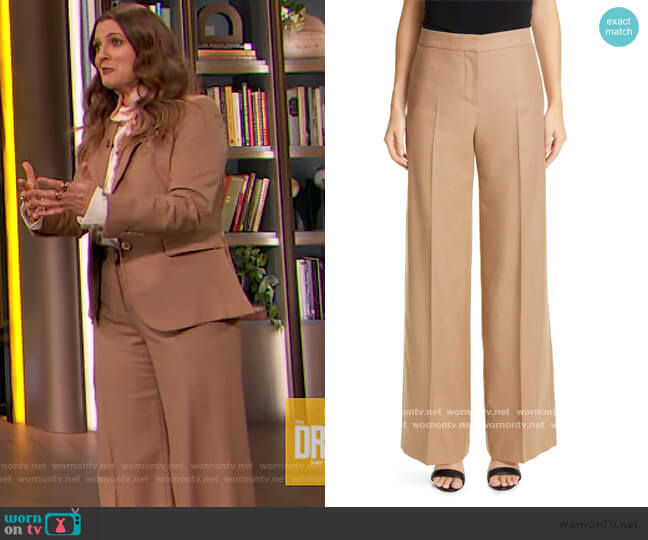 Camel Hair Wide Leg Pant by Alexander McQueen worn by Drew Barrymore  on The Drew Barrymore Show