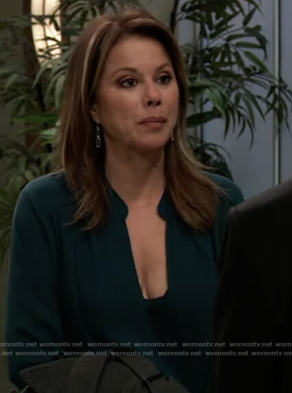 Alexis's green wrap blouse on General Hospital