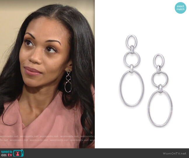Alfani Silver-Tone Link Triple Drop Earrings worn by Amanda Sinclair (Mishael Morgan) on The Young & the Restless
