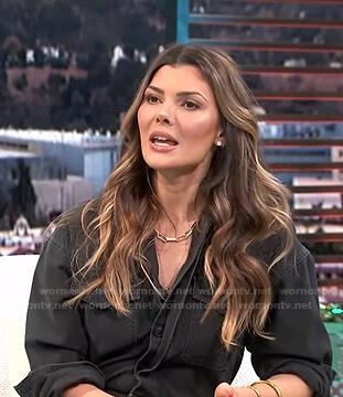 Ali landry's grey utility jumpsuit on E! News Daily Pop