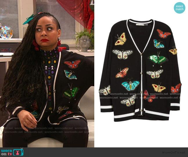 Bradford Embellished Butterfly Grandpa Cardigan by Alice + Olivia worn by Raven Baxter (Raven-Symoné) on Ravens Home