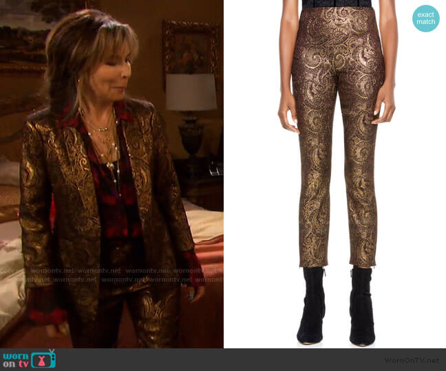 Gloriane Metallic Paisley Jacquard Zip Cuff Crop Pants by Alice + Olivia worn by Kate Roberts (Lauren Koslow) on Days of our Lives