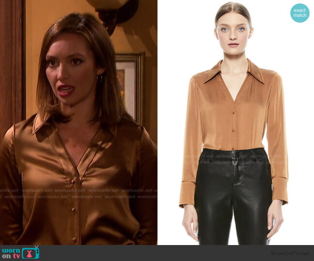 Hope Blouse by Alice + Olivia worn by Gwen Rizczech (Emily O'Brien) on Days of our Lives
