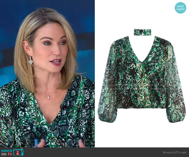 Luba Snake-Print Blouse by Alice + Olivia worn by Amy Robach  on Good Morning America