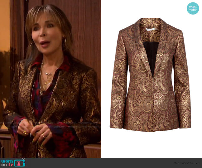 Richie Metallic Paisley Blazer by Alice + Olivia worn by Kate Roberts (Lauren Koslow) on Days of our Lives