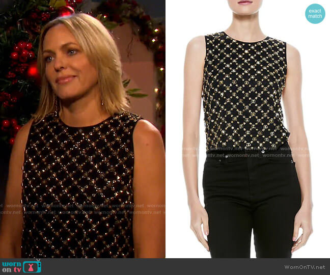 Amal Embellished Boxy Tank by Alice + Olivia worn by Nicole Walker (Arianne Zucker) on Days of our Lives