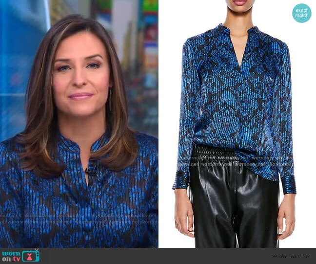 Amos Printed Textured Top by Alice + Olivia worn by Mary Bruce  on Good Morning America