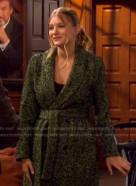 Allie's green herringbone wrap coat on Days of our Lives