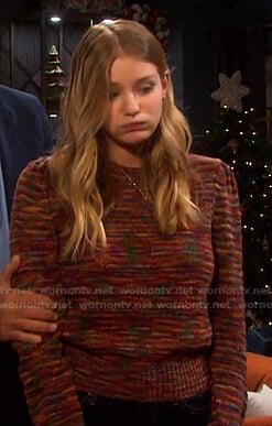 Allie's multicolor puff sleeve sweater on Days of our Lives