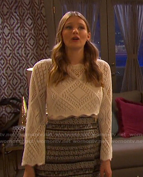 Allie's white eyelet top and embroidered skirt on Days of our Lives